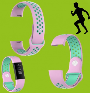 Für Fitbit Charge 3 Kunststoff Silikon Armband für Männer Größe L Pink-Türkis