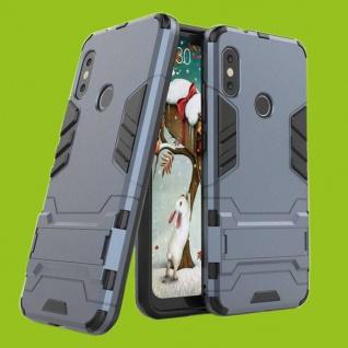 Für Xiaomi MI A2 Lite Metal Style Outdoor Dunkelblau Tasche Hülle Cover Schutz