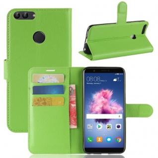 Tasche Wallet Premium Grün für Huawei Enjoy 7S / P Smart Hülle Case Cover Etui
