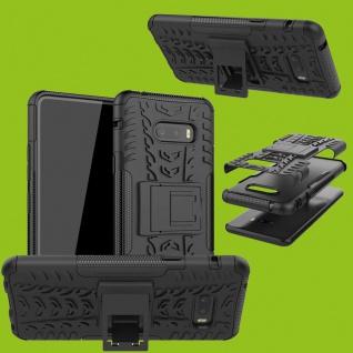 Für LG G8X ThinQ Hybrid 2teilig Outdoor Schwarz Handy Tasche Etuis Hülle Cover