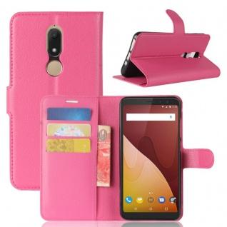 Tasche Wallet Premium Pink für Wiko View Prime Hülle Case Cover Etui Schutz Neu