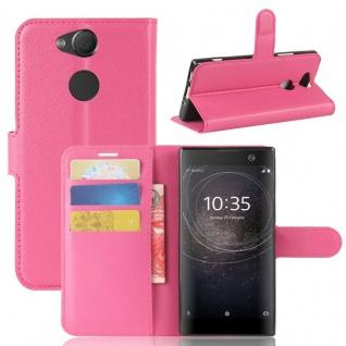 Tasche Wallet Premium Pink für Sony Xperia XA2 Hülle Case Cover Schutz Etui Neu