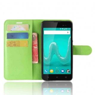 Tasche Wallet Premium Grün für Wiko Sunny 2 Plus Hülle Case Cover Etui Schutz - Vorschau 3