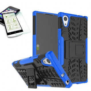 Hybrid Case 2 teilig Blau für Sony Xperia XA1 Hülle + 0, 3 H9 Hartglas Tasche