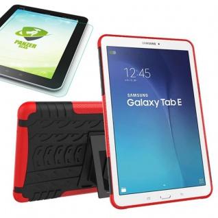 Hybrid Outdoor Tasche Rot für Samsung Galaxy Tab E 9.6 T560 + 0.4 Hartglas Neu