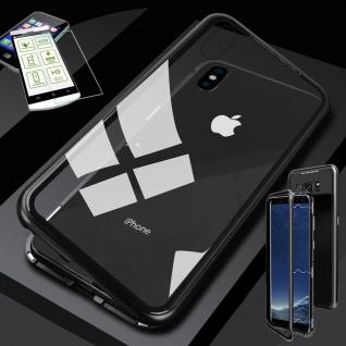 Für Apple iPhone XR 6.1 Magnet Glas Tasche Schwarz / Transparent + 0, 26 H9 Glas