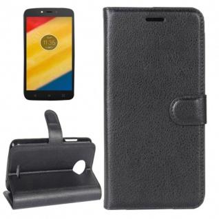 Tasche Wallet Premium Schwarz für Motorola Moto C Plus Hülle Case Cover Etui Neu