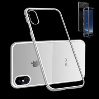 Für Apple iPhone X 10 XS 5.8 Magnet / Metall Glas Silber / Schwarz Tasche Hülle