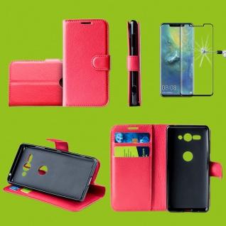 Für Huawei P30 Tasche Wallet Premium Rot Hülle Etuis + H9 4D Curved Hart Glas