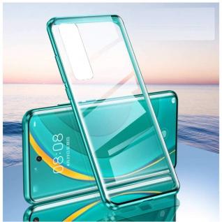 Beidseitige Magnet Glas Bumper Handy Tasche Grün für Samsung Galaxy S21 Plus Neu