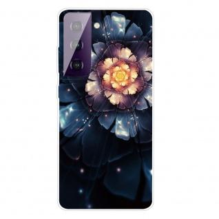 Für Samsung Galaxy S21 Plus Silikon TPU Snow Lotus Handy Hülle