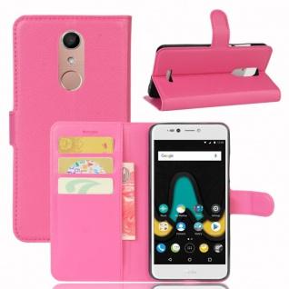 Tasche Wallet Premium Pink für Wiko Upulse Lite Hülle Case Cover Etui Schutz Neu