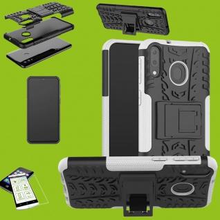 Für Samsung Galaxy A50 6.4 Hybrid Tasche Outdoor 2teilig Weiß + H9 Glas Etuis
