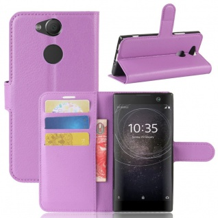 Tasche Wallet Premium Lila für Sony Xperia XA2 Hülle Case Cover Schutz Etui Neu