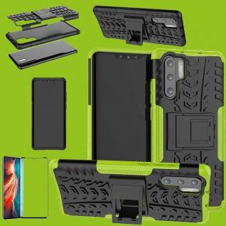 Für Huawei P30 Pro Hybrid Tasche Etuis 2teilig Grün Hülle + 4D Curved H9 Glas