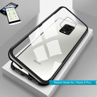 Für Xiaomi Redmi Note 9S Magnet Handy Tasche Hülle Schwarz Transparent + H9 Glas
