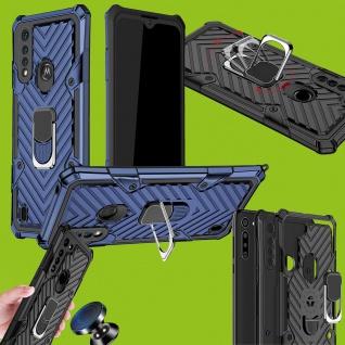 Für Motorola Moto G8 Power Lite Hybrid Case Metall Armor Blau Handy Tasche Hülle