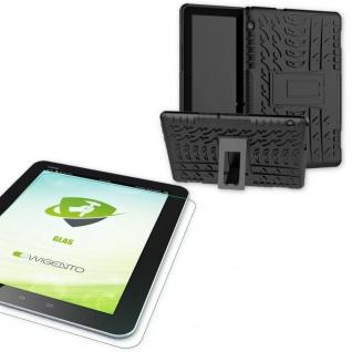 Für Huawei MediaPad T5 10.1 Zoll Hybrid Outdoor Schwarz Tasche 0.4 H9 Schutzglas
