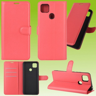 Für Xiaomi Redmi 9C Handy Tasche Rot Etuis Kunst-Leder Cover Hülle Case Cover