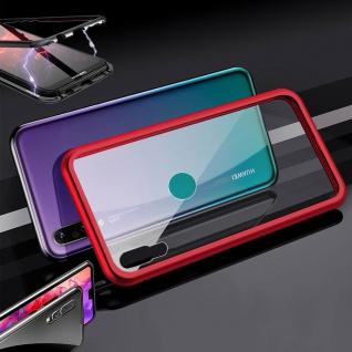Für Huawei Y7 2019 Magnet / Metall Glas Rot / Transparent Tasche Hülle Etuis Neu