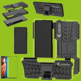 Für Huawei P30 Hybrid Tasche Etuis 2teilig Grün Hülle + 4D Curved H9 Glas Cover