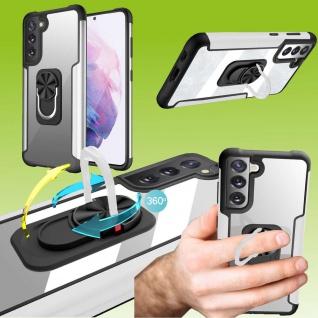 Für Samsung Galaxy S21 FE Silber Schock Hybrid PC +TPU + Metal Tasche Hülle Etui