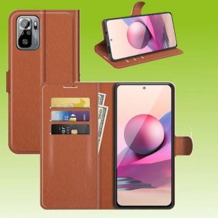 Für Xiaomi Redmi Note 10 / 10s Handy Tasche Braun Etuis Kunst-Leder Cover Hülle