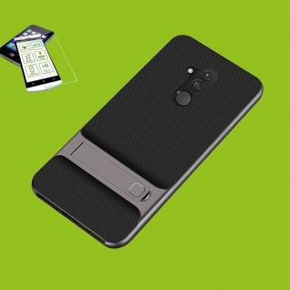 Für Huawei Mate 20 Lite Standing Hybrid Tasche Case Outdoor Etuis Grau + H9 Glas