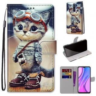 Für Xiaomi Redmi 9 Kunst-Leder Handy Tasche Motiv 1 Hülle Etuis Cover Schutz Neu