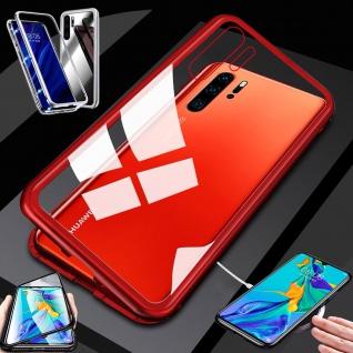 Für Huawei P30 Pro Magnet Glas Rot / Transparent Tasche Hülle Etuis Cover Case
