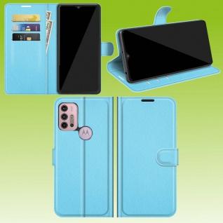 Für Motorola Moto G30 / G10 Smart Handy Tasche Blau Etuis Kunst-Leder Hülle Case