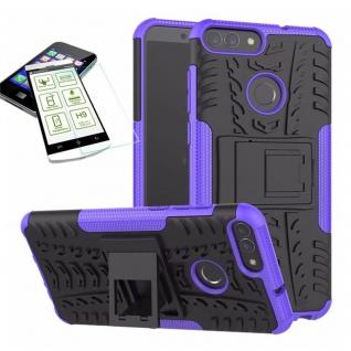 Für Huawei P Smart Hybrid Tasche Case Outdoor 2teilig Lila Hülle + H9 Glas Hülle