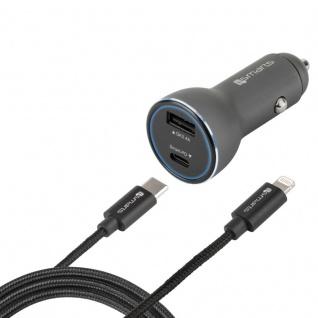 Universal KFZ Ladegerät 48W USB Typ C Lightning 50% schneller Lade Stecker Kabel