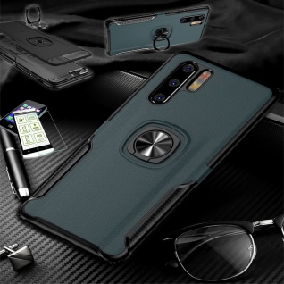 Für Huawei P30 Lite Hybrid Magnet Metall Ring Tasche Navy + H9 Glas Etuis Hülle