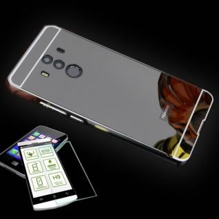 Alu Bumper 2 teilig Schwarz + 0, 3 H9 Panzerglas für Huawei Mate 10 Pro Tasche