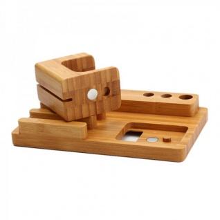 Docking Station Ladestation Bambus Tisch Ständer für iPad iWatch iPhone 5 6 6S + - Vorschau 5