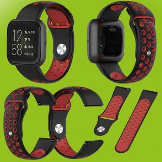 Für Fitbit Versa 2 Kunststoff Silikon Armband für Frauen Größe S Schwarz-Rot Neu