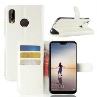 Tasche Wallet Premium Weiß für Huawei P20 Lite Hülle Case Cover Schutz Schale