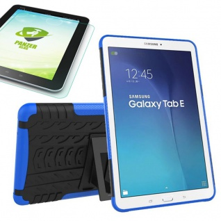 Hybrid Outdoor Tasche Blau für Samsung Galaxy Tab E 9.6 T560 + 0.4 Hartglas