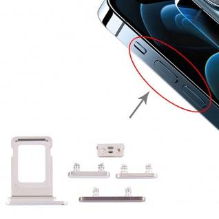 Sim Karten Halter und Power / Lautstärke Button Apple iPhone 12 Pro Max Weiß Neu