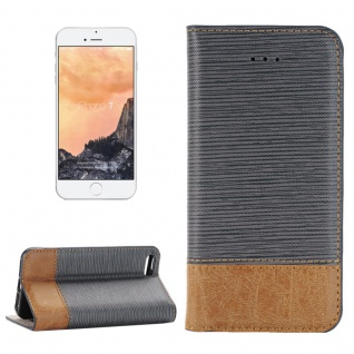 Schutzhülle Jeans Grau für Apple iPhone 7 Bookcover Tasche Hülle Wallet Case Neu