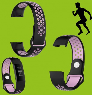 Für Fitbit Charge 3 Kunststoff Silikon Armband für Männer Größe L Schwarz-Pink