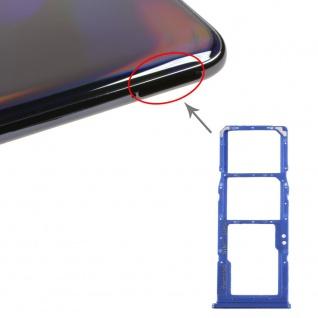 Dual Sim Karten Halter für Samsung Galaxy A70 Blau Card Tray Micro SD Ersatzteil