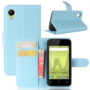 Tasche Wallet Premium Blau für Wiko Sunny 2 Hülle Case Cover Etui Schutz Zubehör