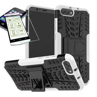 Für Huawei Honor 10 Hybrid Case Tasche Outdoor 2teilig Weiß + H9 Glas Hülle Etui