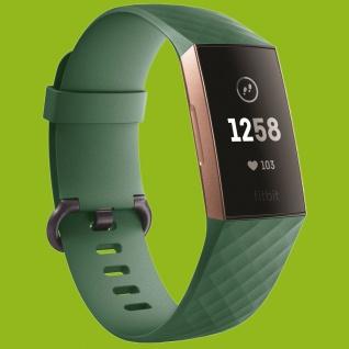 Für Fitbit Charge 3 Kunststoff Silikon Armband für Männer Größe L Navy-Grün Uhr