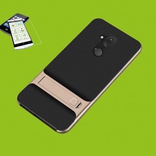 Für Huawei Mate 20 Lite Standing Hybrid Tasche Outdoor Etuis Gold + H9 Glas