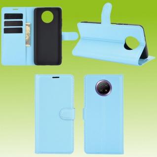 Für Xiaomi Redmi Note 9T 5G Handy Tasche Blau Etuis Kunst-Leder Cover Hülle Case