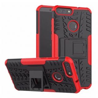 Für Huawei P Smart Hybrid Case 2teilig Outdoor Rot Etui Tasche Hülle Cover Neu