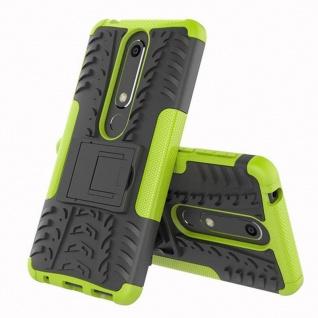 Für Nokia 6 5.5 2018 Hybrid Case 2teilig Outdoor Grün Tasche Hülle Cover Etui